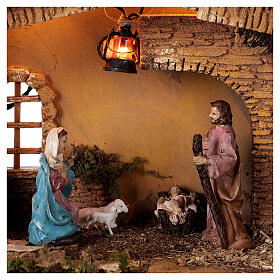 Stable with lantern 25x30x20 cm for 10 cm nativity s2