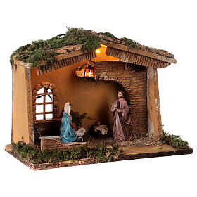 Stable with lantern 25x30x20 cm for 10 cm nativity s4