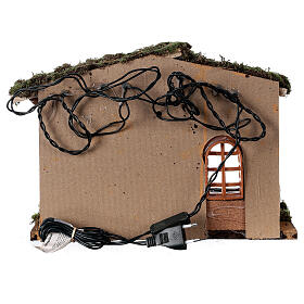 Stable with lantern 25x30x20 cm for 10 cm nativity s6