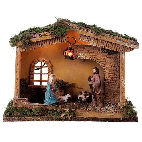 Stable with lantern 25x30x20 cm for 10 cm nativity 1