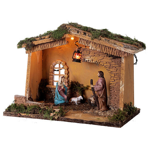 Stable with lantern 25x30x20 cm for 10 cm nativity 3