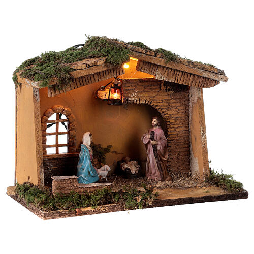 Stable with lantern 25x30x20 cm for 10 cm nativity 4