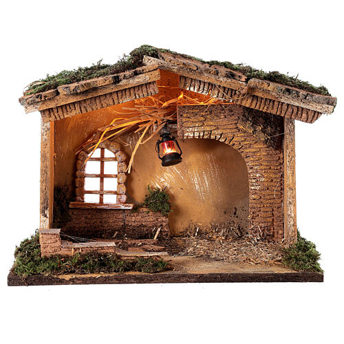 Stable with lantern 25x30x20 cm for 10 cm nativity 5