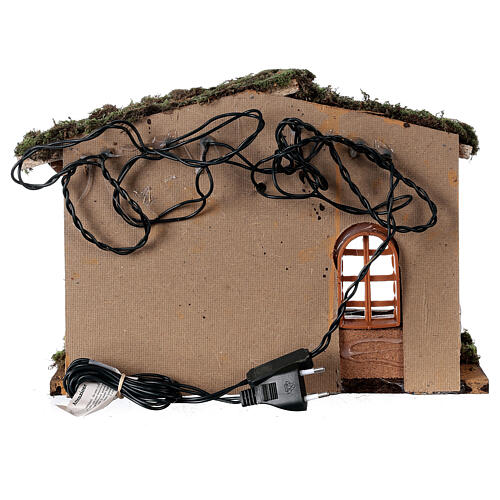 Stable with lantern 25x30x20 cm for 10 cm nativity 6
