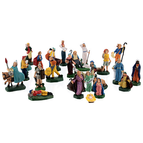 Estatuas belén tipo coloreado 4 cm set 25 piezas 1