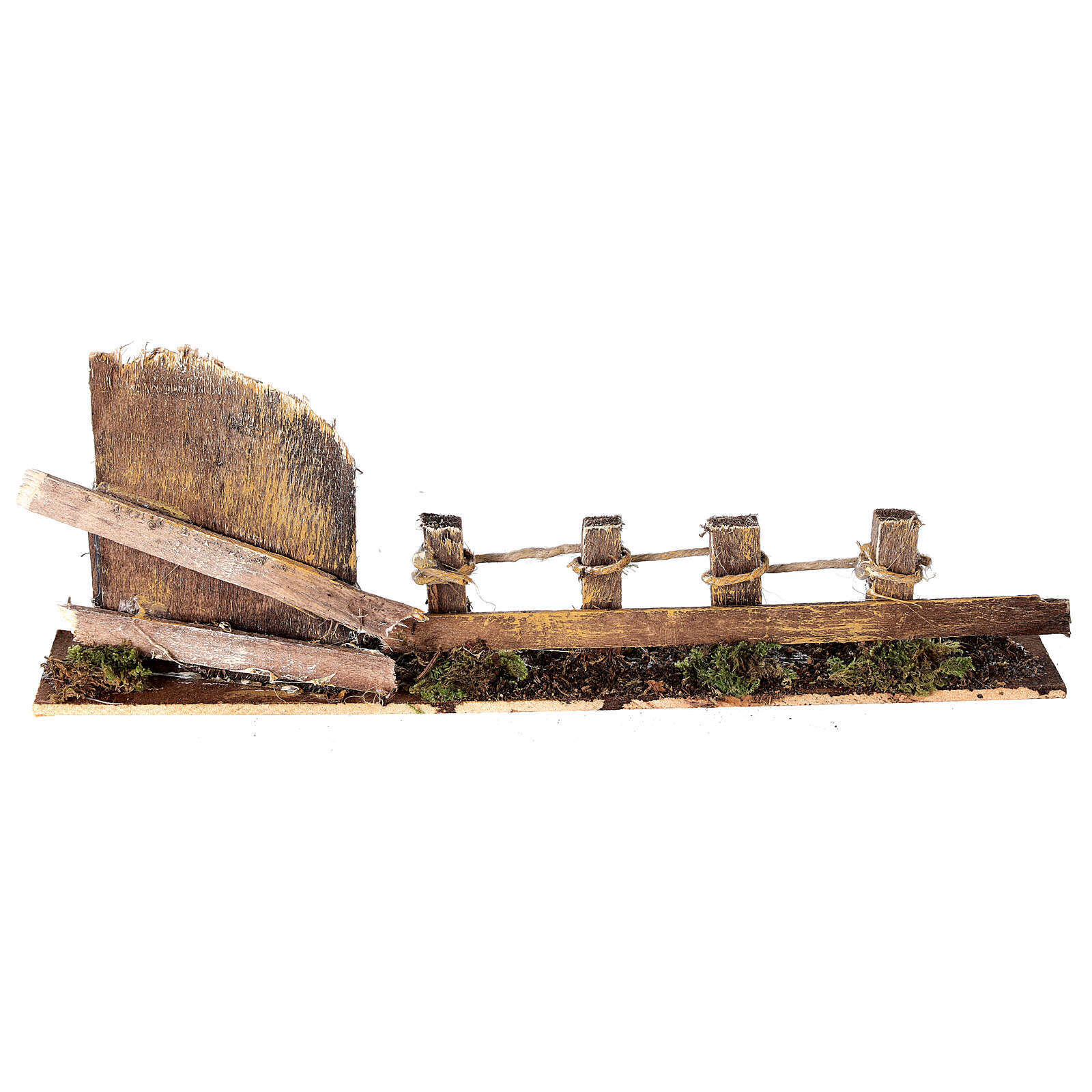 Fence with wooden gate 10x25x5 cm nativity scene 10-12 cm 4