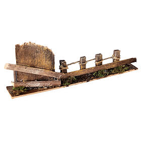 Fence with wooden gate 10x25x5 cm nativity scene 10-12 cm s3