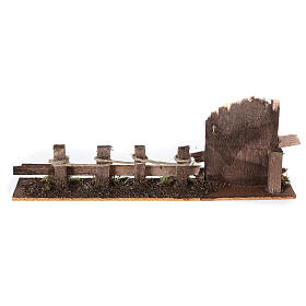 Fence with wooden gate 10x25x5 cm nativity scene 10-12 cm s4