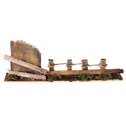 Fence with wooden gate 10x25x5 cm nativity scene 10-12 cm 1