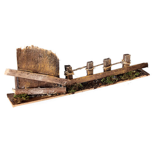Fence with wooden gate 10x25x5 cm nativity scene 10-12 cm 3