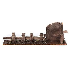 Cerca com portão madeira para presépio figuras altura média 10-12 cm; medidas: 9x25x4 cm s4