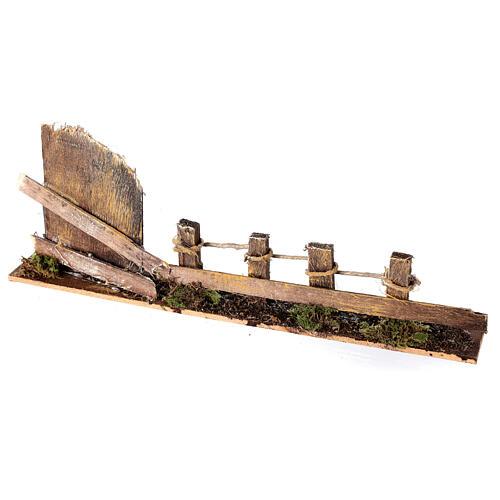 Cerca com portão madeira para presépio figuras altura média 10-12 cm; medidas: 9x25x4 cm 2
