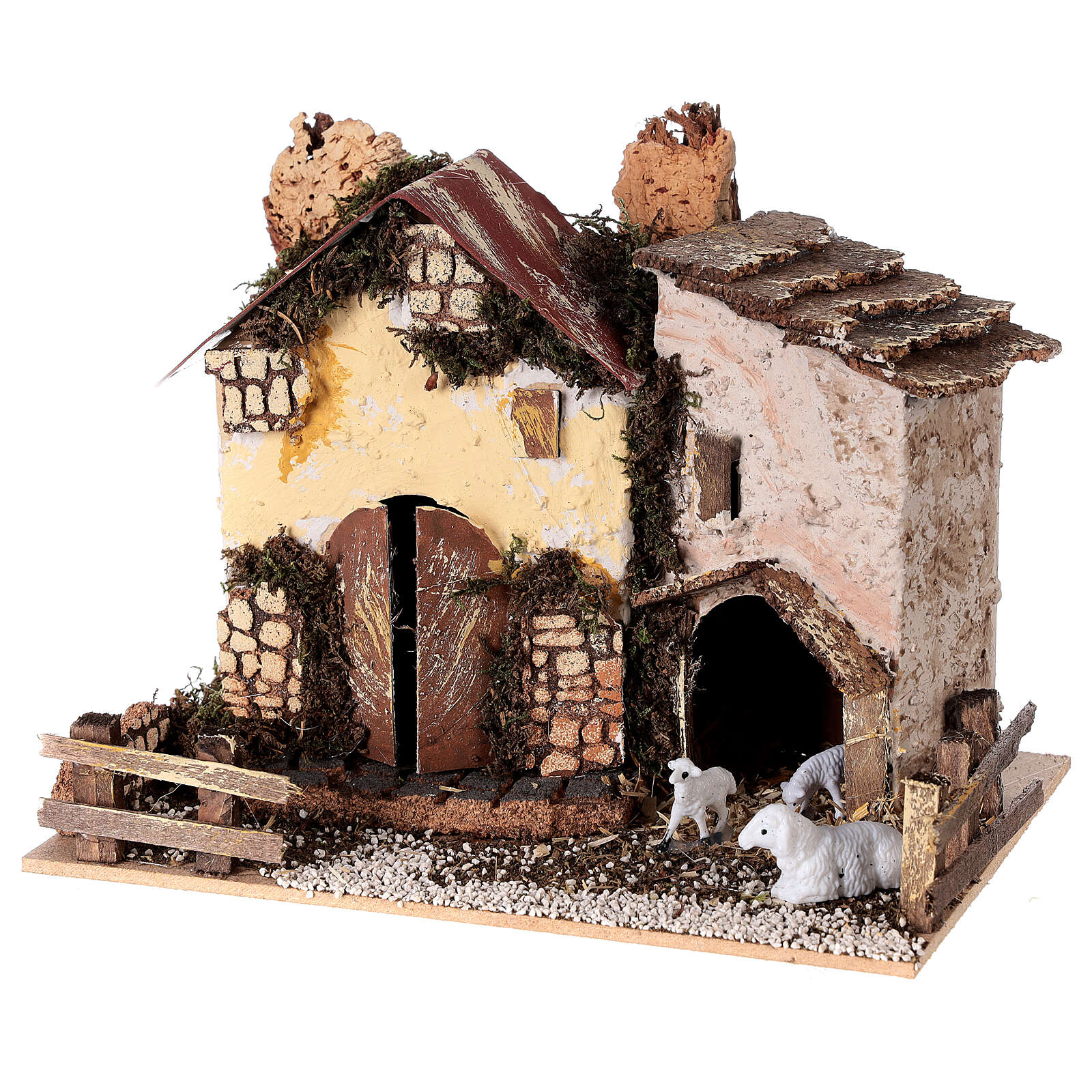 Cottage with sheep 15x20x15 cm for Nativity scene 8-10 cm 4