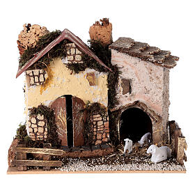 Cottage with sheep 15x20x15 cm for Nativity scene 8-10 cm s1