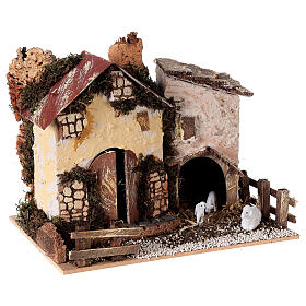 Cottage with sheep 15x20x15 cm for Nativity scene 8-10 cm s3