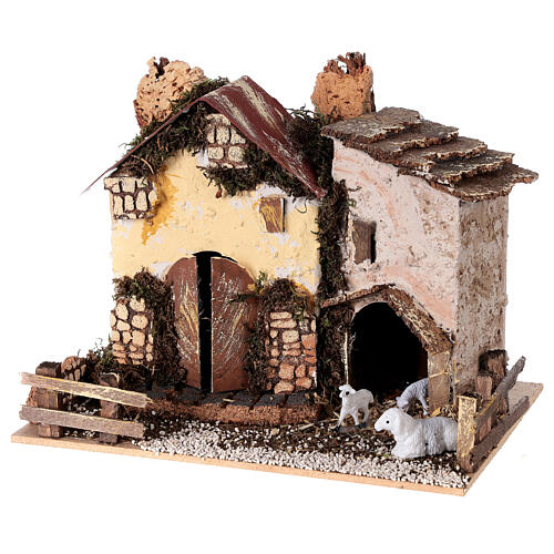 Cottage with sheep 15x20x15 cm for Nativity scene 8-10 cm 2