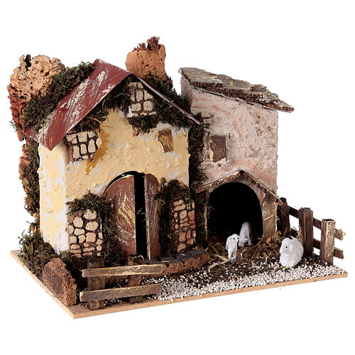 Cottage with sheep 15x20x15 cm for Nativity scene 8-10 cm 3