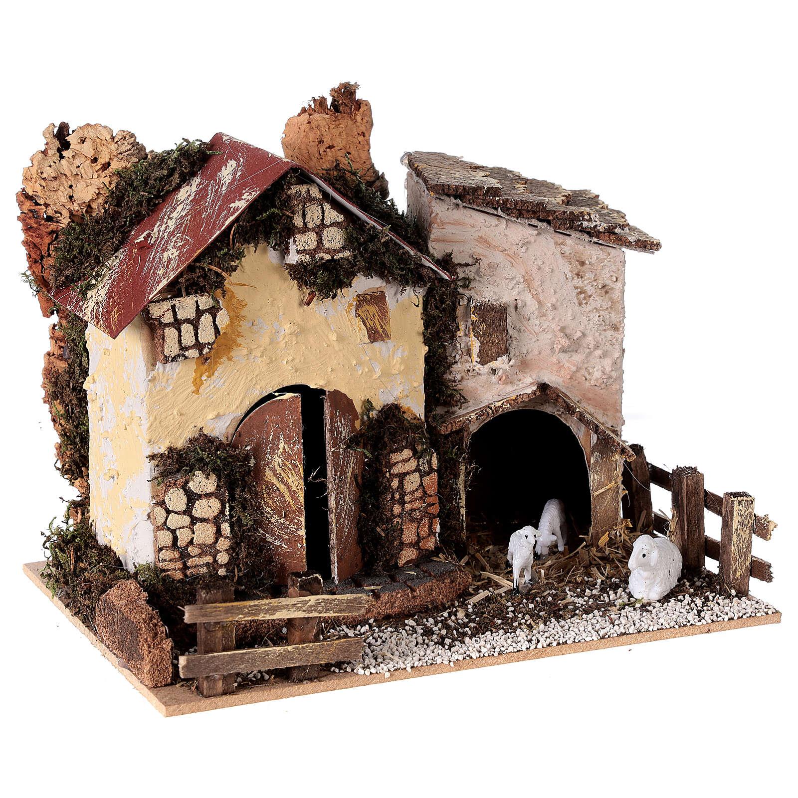 Casa de campo com ovelhas para presépio com figuras altura média 8-10 cm; medidas: 15x20x15 cm 4
