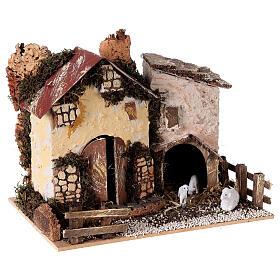 Farmhouse figurine with sheep 15x20x15 cm for 8-10 cm nativity scene s3