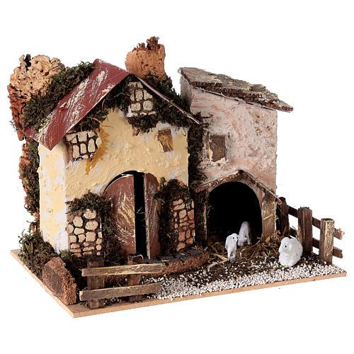 Farmhouse figurine with sheep 15x20x15 cm for 8-10 cm nativity scene 3