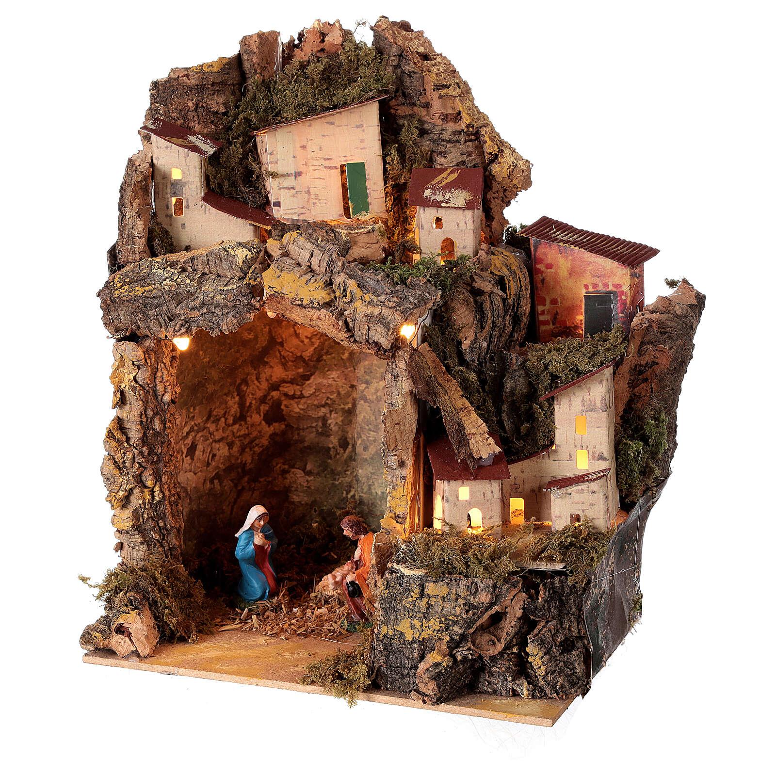 Nativity scene with illuminated village 25x20x15 cm 6 cm 4