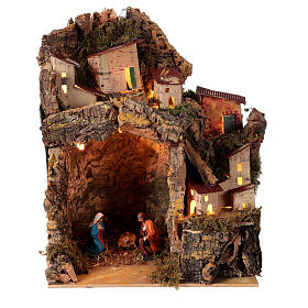 Nativity scene with illuminated village 25x20x15 cm 6 cm s1