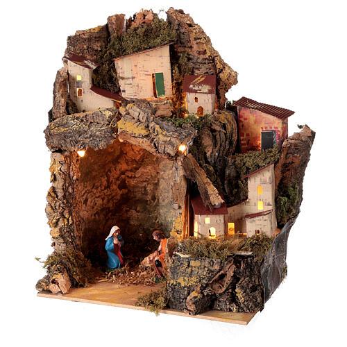 Nativity scene with illuminated village 25x20x15 cm 6 cm 2