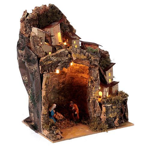 Nativity scene with illuminated village 25x20x15 cm 6 cm 3