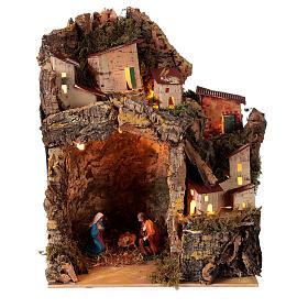 Nativity with lighted village 25x20x15 cm 6 cm figurines s1