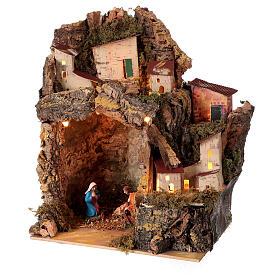 Nativity with lighted village 25x20x15 cm 6 cm figurines s2