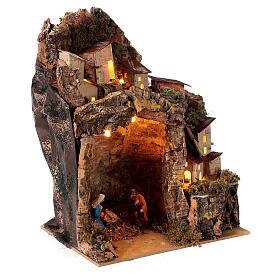 Nativity with lighted village 25x20x15 cm 6 cm figurines s3