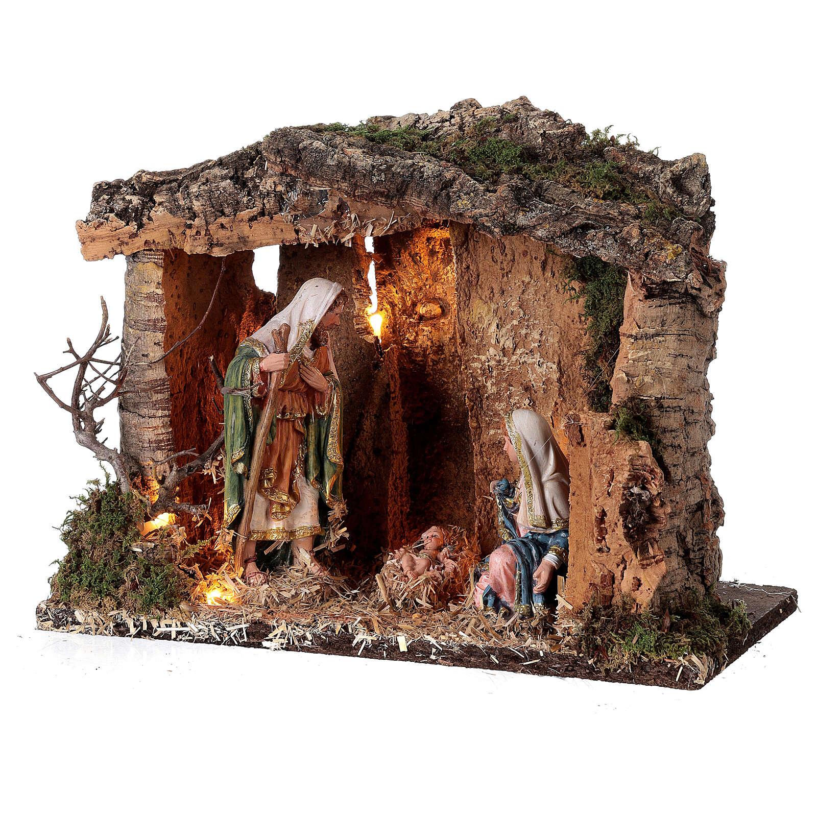 Illuminated wooden hut 25x30x20 cm Nativity Scene 16 cm 4