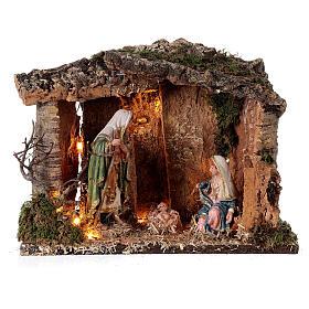 Illuminated wooden hut 25x30x20 cm Nativity Scene 16 cm s1