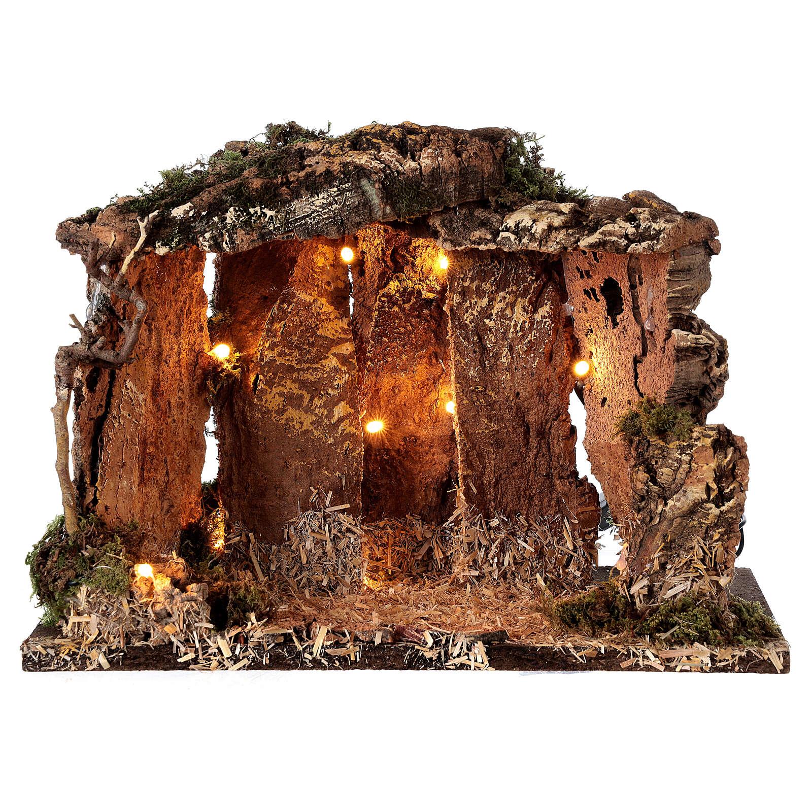 Cabane bois éclairée 25x30x20 cm crèche 16 cm 4