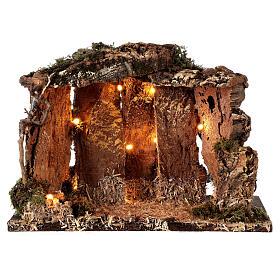 Cabane bois éclairée 25x30x20 cm crèche 16 cm s5