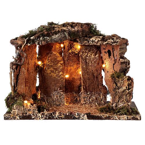 Cabane bois éclairée 25x30x20 cm crèche 16 cm 5