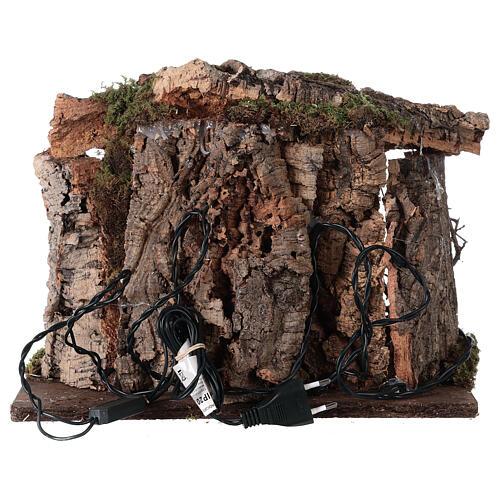 Cabane bois éclairée 25x30x20 cm crèche 16 cm 6