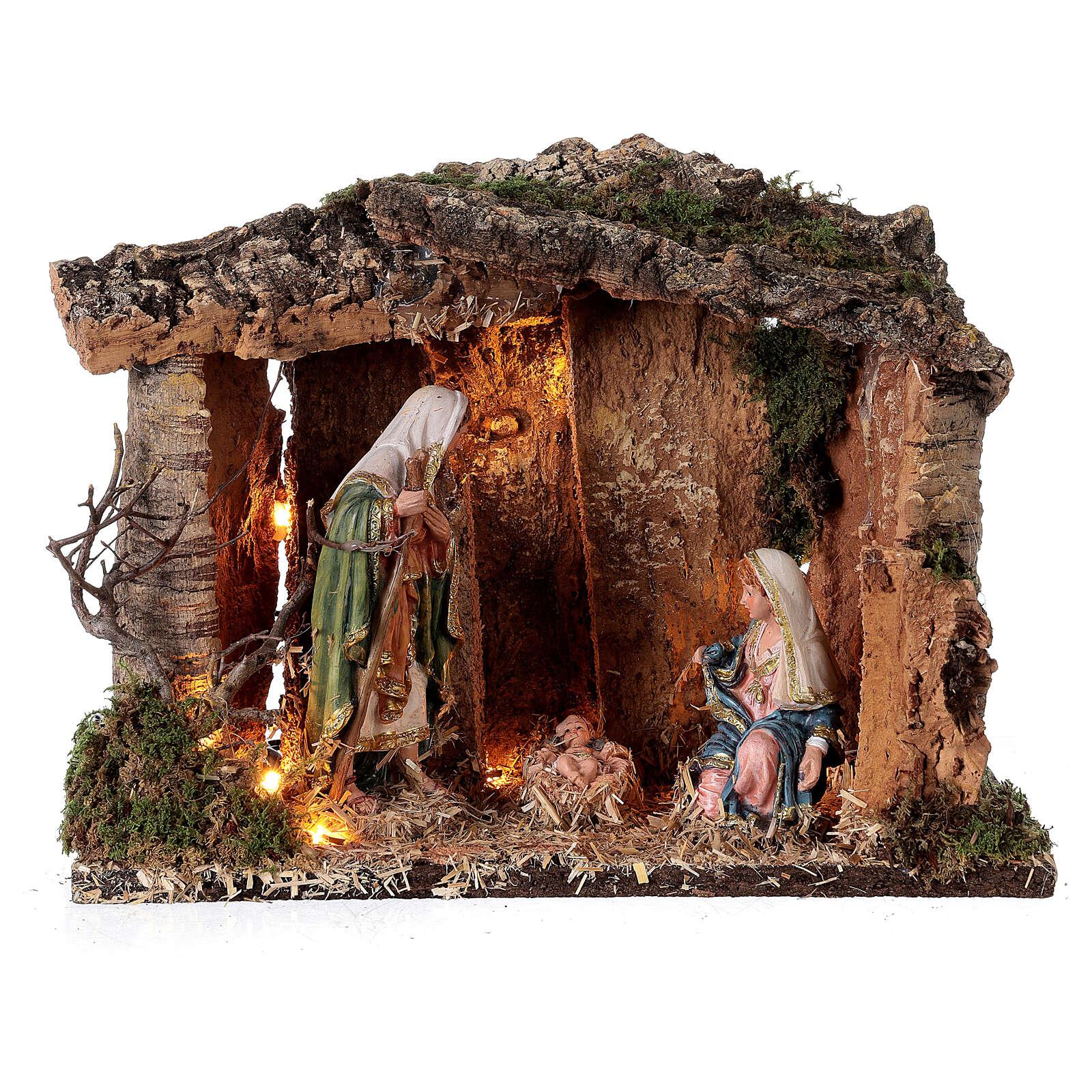 Capanna legno illuminata 25x30x20 cm presepi 16 cm 4