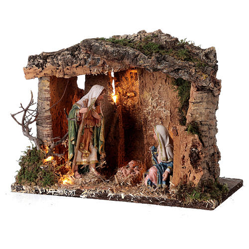 Cabana madeira iluminada para presépio com figuras de altura média 16 cm; medidas: 25x30x20 cm 3