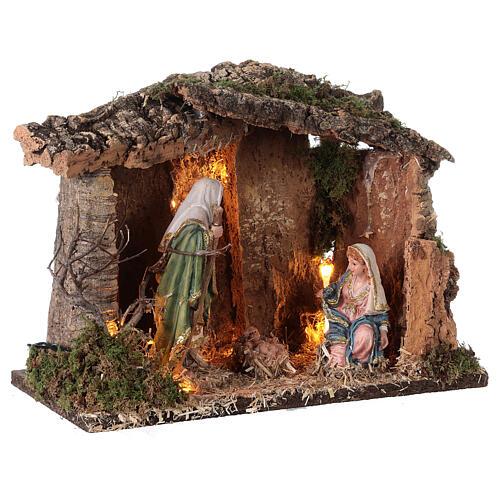 Cabana madeira iluminada para presépio com figuras de altura média 16 cm; medidas: 25x30x20 cm 4