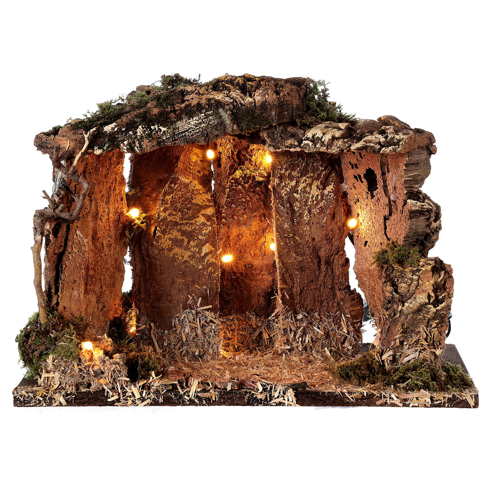 Wooden nativity stable lighted 25x30x20 cm 16 cm figurines 4
