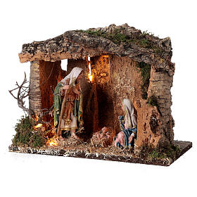 Wooden nativity stable lighted 25x30x20 cm 16 cm figurines s3