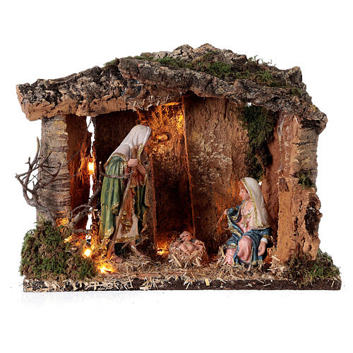 Wooden nativity stable lighted 25x30x20 cm 16 cm figurines 1