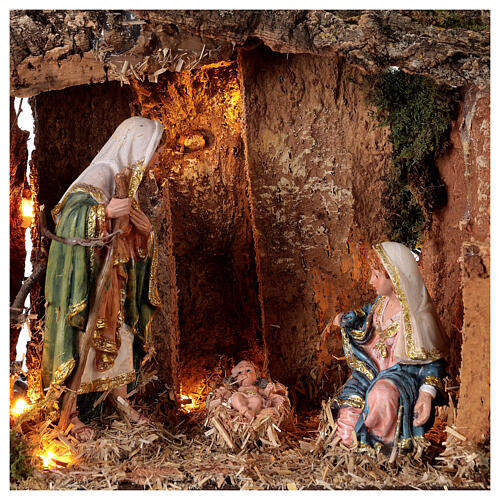 Wooden nativity stable lighted 25x30x20 cm 16 cm figurines 2
