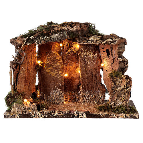 Wooden nativity stable lighted 25x30x20 cm 16 cm figurines 5