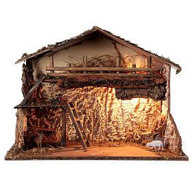 Illuminated hut 35x50x25 cm Nordic nativity scene 12-14 cm s1