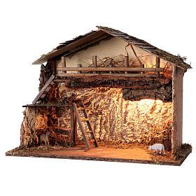 Illuminated hut 35x50x25 cm Nordic nativity scene 12-14 cm s2
