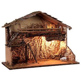 Illuminated hut 35x50x25 cm Nordic nativity scene 12-14 cm s3