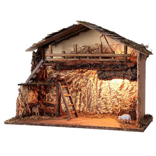 Illuminated hut 35x50x25 cm Nordic nativity scene 12-14 cm 2