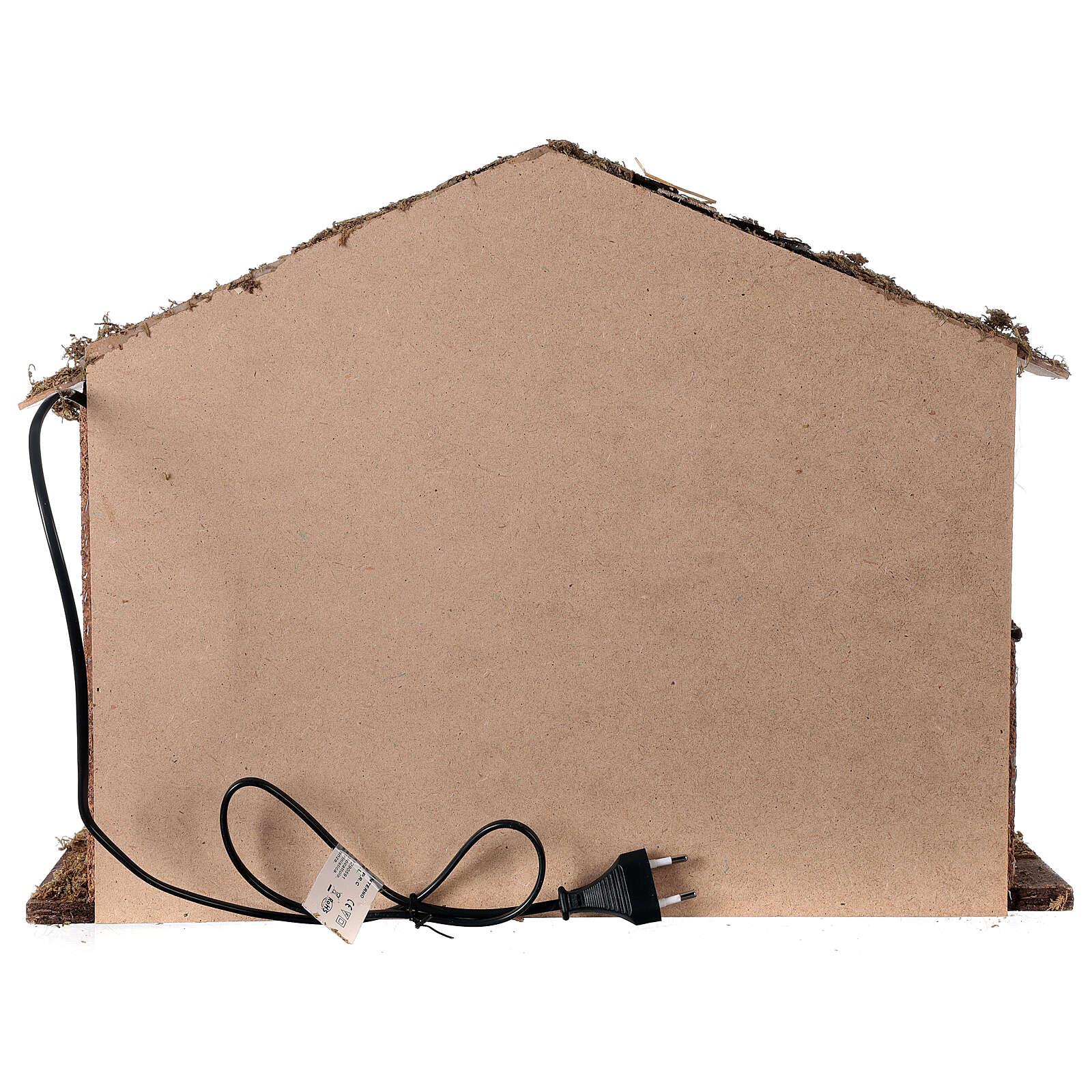 Cabane éclairée 35x50x25 cm crèche nordique 12-14 cm 4
